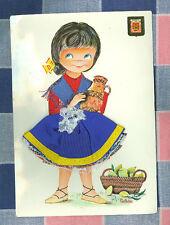 Vintage Postcard Made in Spain Castaner Embroidered Material Girl Vase  ? 1960's