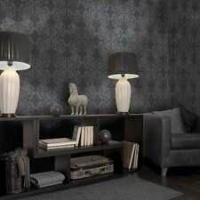 Holden Statement Zena Damask Pattern Wallpaper Stripe Motif Glitter 65271 Black