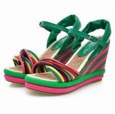 Women Bohemian Open Toe Wedge Platform Sandals Summer Beach Weave Heel Gladiator