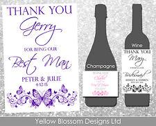 Personalizzato Vino CHAMPAGNE Bottiglia Etichetta Matrimonio grazie Usher damigella d'onore PAPA'