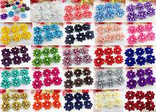 DIY 10/50/100PCS Satin Ribbon Flower with Crystal Bead Appliques~Craft/Trim