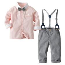 Toddler Baby Boys Clothing Set Gentleman Shirt + Bow Tie + Suspender Pants New