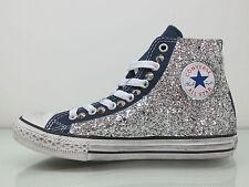 Converse all star glitter ARGENTO borchie navy blu artigianali
