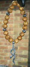 In Car Snake Charm Pendant & Wood Wooden Beads Asp Aspis Reptile Gift Souvenir