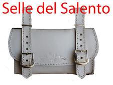 BORSA PELLE Bianco BORSELLO BICI BICICLETTA SOTTOSELLA VINTAGE Leather Tools Bag