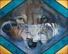 Wolf Tile Backsplash Kathy Morrow Animal Art Ceramic Mural RW-KM011