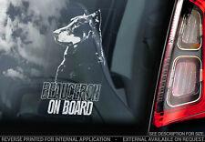 Beauceron on Board - Car Window Sticker -  Shepherd Dog Sign Bumper Decal - V02