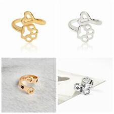 Fashion Paw Print Love Heart Ring Open Adjustable Rings Dog Cat Pet Animal