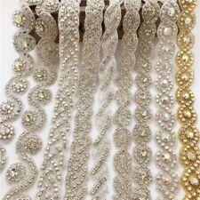 1 Yard AB Crystal Rhinestone Beaded Trim Ribbon Applique Bridal Costume Belt DIY