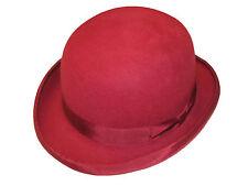 BORDEAUX Dur Haut 100% Laine Melon chapeau en Satin doublé - tailles S à XL
