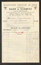 "PARIS (XI°) USINE de BRIARE (45) ARTICLES DE PECHE : CANNE ""BAER & SCHMITZ"" 1936"