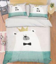 3D Gentleman Crown Bear 56 Bed Pillowcases Quilt Duvet Cover Set Single Queen CA
