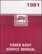 1981 Pontiac Body Shop Manual Trans Am Firebird Bonneville Grand Prix LeMans