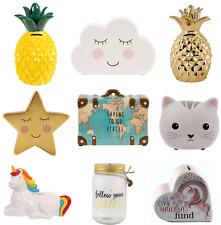 Childrens Ceramic Money Box Piggy Bank Savings Coin Storage Glass Jar Kids Gift