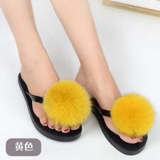 Distinctive 100% Real Fox Fur Shoes Flat Women Fur Sliders Slippers Indoor Shoes