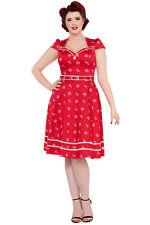 Voodoo Vixen Red Nautical Gwyneth Rockabilly 1950s Flared Swing Party Dress 8-26