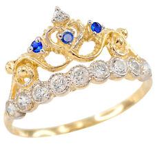 Yellow Gold Quinceañera 15 Años Conora Blue White CZ Crown Ring