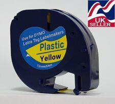 1-100 Cartucho de cinta 91202 12mmx4m Plástico Amarillo para fabricantes de etiquetas Dymo Letratag