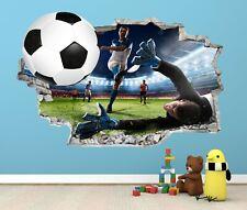FOOTBALL STADIUM WALL STICKER 3D LOOK - BOYS KIDS FOOTBALL BEDROOM  Z48