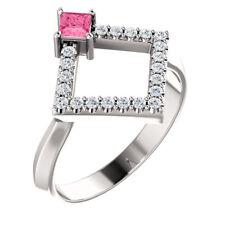 Princess Pink Tourmaline & 1/5 CTW Diamond Geometric Ring In 14K White Gold