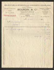"""PARIS (II°) USINE de LILLE (59) VETEMENTS pour ENFANTS """"Ets BOURDIN & Cie"""" 1935"""