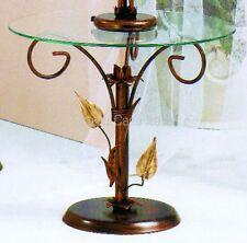 Tavolino da salotto tondo in ferro battuto Foglie