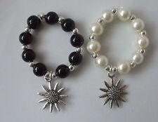 Scarf Ring Toggle (Medium) Charm Sunflower Pearl Black Cream Silver Beads