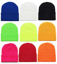 Basic Beanie Plain Winter Ski Thermal Warm Knit Knitted Hat Cap Soft Unisex