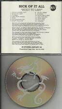 SICK OF IT ALL Built DIFF TRK ORDER ADVNCE PROMO CD dj