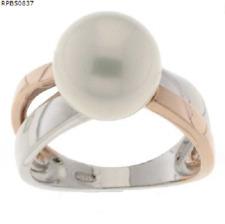 925 echt Silber Ring rosegold Bicolor Damen Frauen Perlen weiße große Bandring