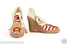 MARC JACOBS Red/Juta 105 Light Grey Striped Espadrille Wedges Shoes 36