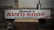 Auto Shop, Custom Mechanic Name Open - Rustic Distressed Wood Sign ENS1001528