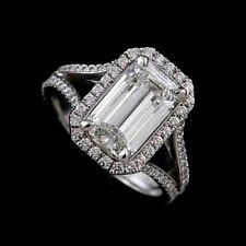 Emerald Shape Diamond Split Shank Modern Halo Style Engagement Ring Mounting