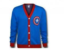 Adult Marvel Comics Superhero Captain America Shield Button Up Cardigan Sweater