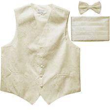 New Men's Paisley Tuxedo Vest Waistcoat & Cummerbund & Bow tie Wedding Ivory