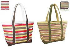 Small Canvas Stripe Shoulder Tote Bag Fashion Bag Unisex Handbag Shopping Bag