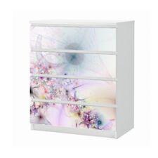 Set Möbelaufkleber für Ikea Kommode MALM 4 Fächer Blume Textur Folie 25B1058