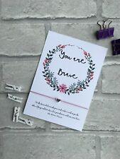 Affirmation Wish Bracelet, You Are Brave mindfulness card, Mental health