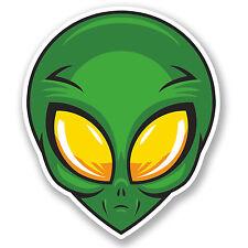 2 X 10 Cm Alien pegatina de vinilo portátil coche Patineta Skate Casco Espacial Ovni # 5663