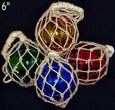 """6"""" Fish Net Buoys Glass Ball Floats~Nautical Beach Coastal Seashore Decoration"""