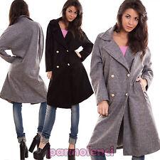 Cappotto donna oversize militare lana bottoni caldo giacca invernale CJ-2357