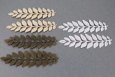 "set of 2 laurel leaf metal pendant charm jewelry hair embellishment 3.5"" long"