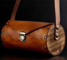 New Handmade Women Genuine Cow Leather Handbag Shoulder Bag Purse +Wood S Brown