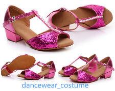 Mädchen Glitter Ballsaal Latein Tango Samba Salsa Tanzschuhe Tanzen Schuhe 24-34