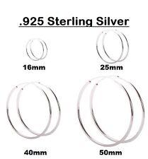 925 Sterling Silver Hoop Earrings 25mm,40mm & 50mm small-medium-large Top Hinged
