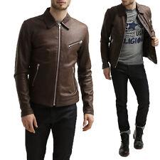 Giacca Giubbotto in Pelle Uomo Men Leather Jacket Veste Blouson Homme Cuir R68a