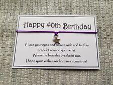 Happy 40th Birthday Wish * Wish Bracelet * Friendship * Gift * Greeting * favor