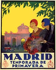 POSTER MADRID SPRING SEASON FLOWERS FASHION SPAIN TRAVEL VINTAGE REPRO FREE S/H