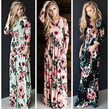 Women Autumn Maxi Floral Dress Long Sleeve Evening Party Dress #TE