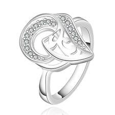 Eleganter Design-Ring Silber plattiert mit 16 Zirkonia Verlobungsring Blatt Herz
